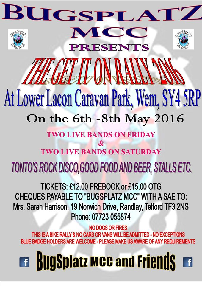 Bug Splatz MCC The Get It On Rally 2016 flyer